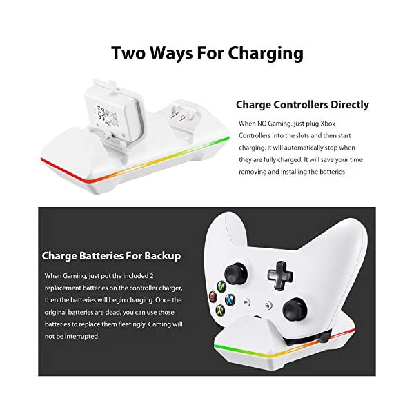 Xbox One Controller Charger, CVIDA Dual Xbox One/One S/One Elite Charging Station with 2 x 800mAh Rechargeable Battery… 3