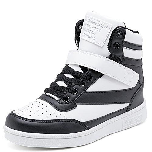 Blanc Femme Chaussures Pu Heels Noir Sport Scratch Plat Cuir w6TqBfB0