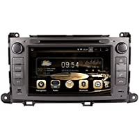 Diyauto 8.0 Car DVD Player GPS Navigation in Dash Car Radio Double 2 Din Android 7.1 Stereo Head Unit for Toyota Sienna 2011-2013 with Free Map & Free Card