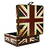 Hongxin 16x16 x 8cm Vintage Nostalgic Style Retro Suitcase Wood Storage Box Jewelry Box Decorative Embroidery Pattern With Copper Lock Desk Book Finishin Creative Gift (A)