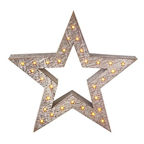 Small Wooden Star Decoration with Light Up Stars by Roman at Home