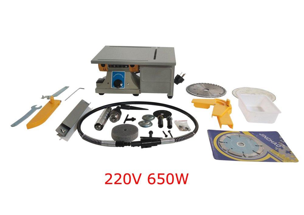 Techtongda 220V/650W Gowe Multi-Functional Jade Mini Table Saw,Multi-Purpose Jade Carving Machine, Grinding Polishing Machine (Item Included#300110