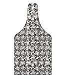 Lunarable Black and White Cutting Board, Doodle Style Monochrome Ornamental School of Fish Squares and Dots Pattern, Decorative Tempered Glass Cutting and Serving Board, Wine Bottle Shape, Black White