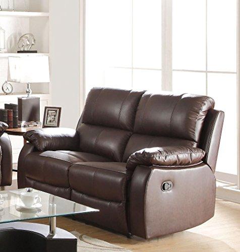 ACME Furniture 52451 Enoch Recliner Loveseat, Dark Brown Top Grain Leather - Acme Furniture Leather Loveseat