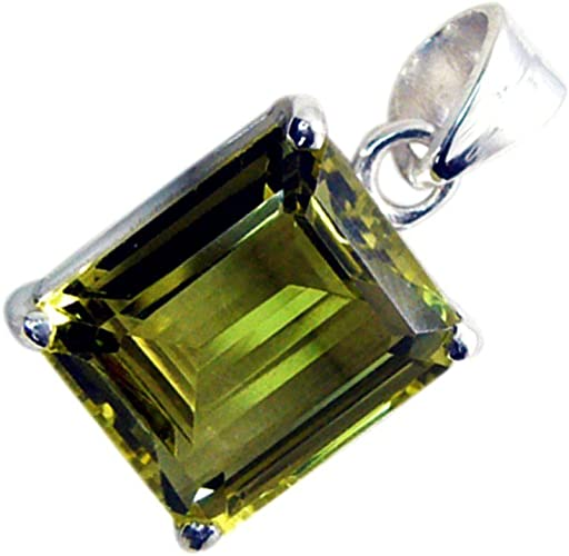 GemsOnClick Real 925 Sterling Silver Prong Style Lemon Quartz Pendant Emerald Cut for Women Gifts Jewelry