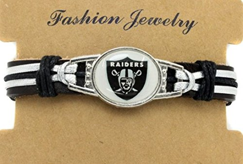 Las Vegas Oakland Raiders Adjustable Leather Wristband Jewelry Bracelet - Shipped from U.S.A. by Collectibles