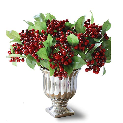 Felice Arts Red Berry Stems, Artificial Holly Christmas Berries for Festival Holiday and Home Decor and Wedding Decorating, Pack of 10 -