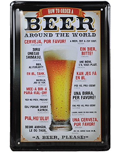 How to Order a Beer Around the World Metal Tin Signs Tin