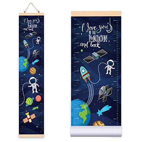 Height Growth Chart Space for Kids - Boys and Girls (10.2W x 56H Inches) Adorable Hanging Growth Chart Wall Decor for Kids Room - Durable Waterproof Canvas Cloth with Wooden Frame