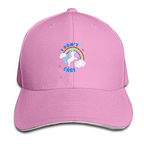 [Cutadorns I Don't Care Unicorn Trucker Sandwich Hat Pink] (Bowie Costume Designer)