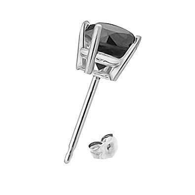0.5 Carat Natural Black Diamond Basket Solitaire Stud Earrings 14K White Gold