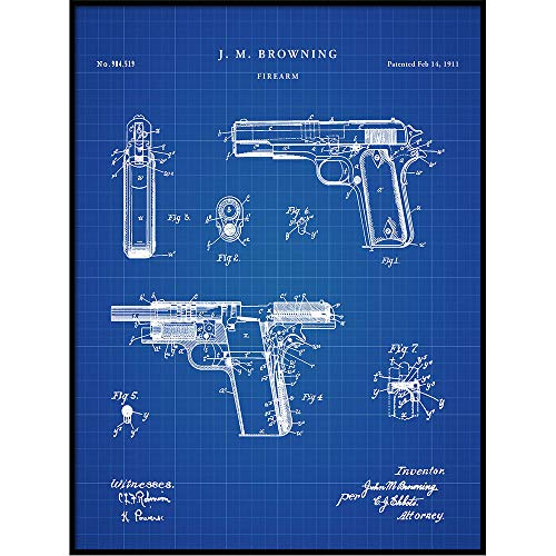 Browning M1911 Colt 45 Semi-Automatic Handgun Patent for sale  Delivered anywhere in USA