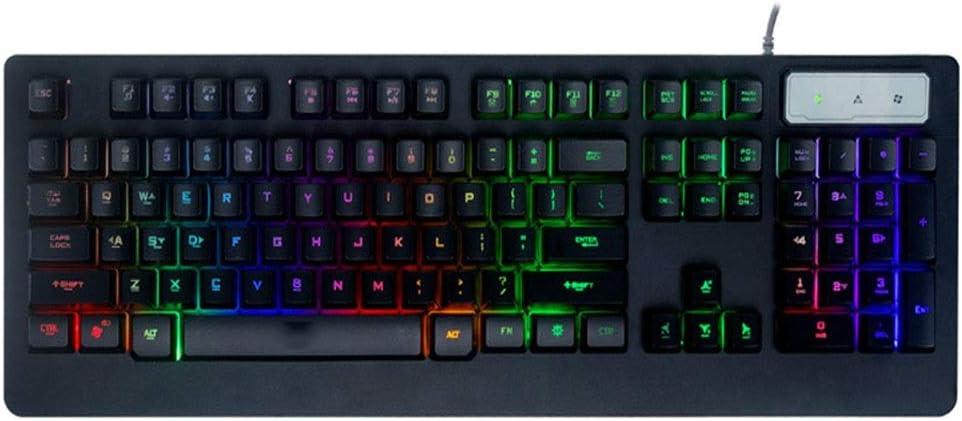 MengY VR3 Luminous Game Keyboard Luminous Computer Desktop Glare Mechanical Keyboard Black and White Color : BlackVR3