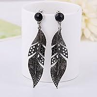 ERAWAN Fashion Women Silver Jewelry Vintage Black Long Leaf Drop Stud Dangle Earrings EW sakcharn