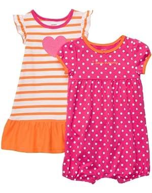 Baby Girl's Infant 2-Pack Romper Dress