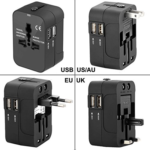 Travel Power Adapter Kit,Wacye Dual Usb Universal Travel Adapter Converter AC Power Plug Adapter for Europe USA UK AUS Asia (Black,2 USB)