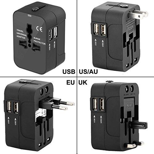 Travel Power Adapter Kit,Wacye Dual Usb Universal Travel Adapter Converter AC Power Plug Adapter for Europe USA UK AUS Asia (Black,2 - Outlet Singapore