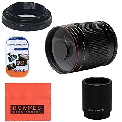 High-Power 500mm f/8.0 Telephoto Mirror Lens + 2x (doubles the zoom to 1000mm) for Nikon D90, D3000, D3100, D3200, D3300, D5000, D5100, D5200, D5300, D7000, D7100, D300, D300s, D600, D610, D700, D800, D800e, D810 by Big Mikes