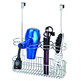 mDesign Over Door Bathroom Hair Care & Styling Tool Organizer Storage Basket for Hair Dryer, Flat Iron, Curling Wand, Hair Straighteners, Brushes - Hang Inside or Outside Cabinet Doors - Chrome