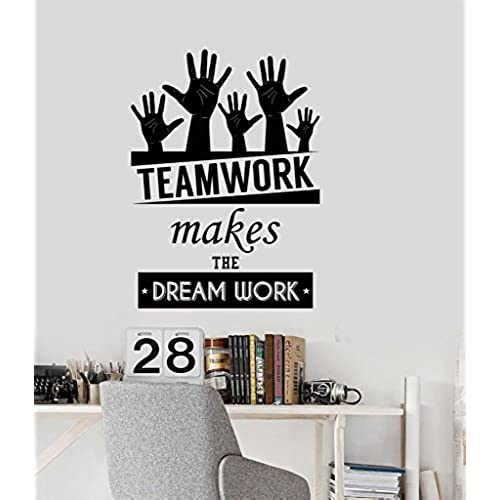 Office Inspirational Words Wall Decal Teamwork Makes The Dream Work  Motivational Quotes Home Or Office Decor