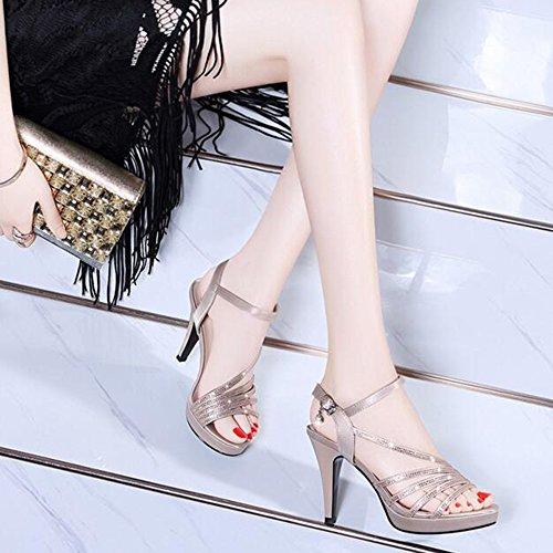 Cm Moda Plataforma Zapatos 3 De Sexy 9 Abierta 74 Mujeres Sandalias Punta Verano Con Altos 5 Tacón In Caqui Mujer Para Haizhen zIUBqq