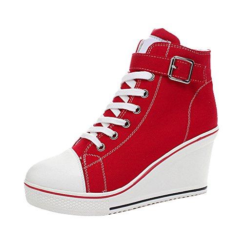 5 Platform Toile En Compensé Chaussures Mode Ochenta Talon Rouge Femme Baskets Sport De ZK1q4ypP