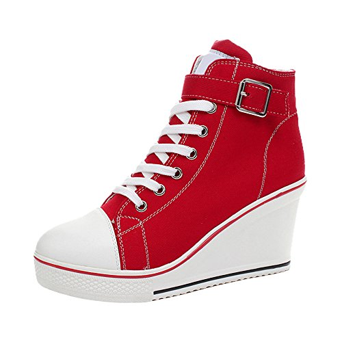 Shoes Heeled Platform 5 Pump Wedge High Fashion Sneaker Canvas Women's Red OCHENTA TqxW61wzf6