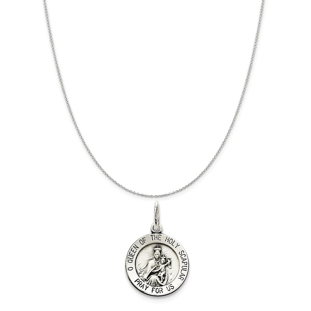 Snake or Ball Chain Necklace Sterling Silver Queen Of The Holy Scapular Medal on a Sterling Silver Cable