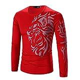 Appliances Men Best Deals - PHOTNO Men Fashion Printing Men's Long-sleeved T-shirt (XXL, Red)