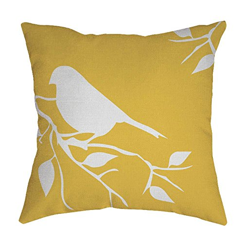 Hattfart Square Cartoon Bird Printed Cushion Cover Cotton Throw Pillow Case Sham Slipover Pillowslip Pillowcase For Home (Yellow)