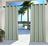 DH 2 Pieces 108 Inch Sea Foam Color Gazebo Curtains Set Pair, Light Blue Green Solid Color Pattern Rugby Colors Outside, Indoor Pergola Drapes Porch Deck Cabana Patio Screen Entrance Sunroom Stripes