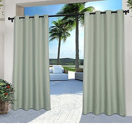 Charming 2 Pieces 108 Inch SeaFoam Color Gazebo Curtains Set Pair, Light Blue Green  Solid Color