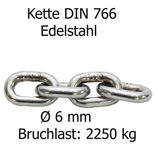Ankerkette DIN 766 Norm Edelstahl A4 lehrenhaltig Ø 6 mm Bruchlast ca 2250 kg