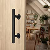 "Barn Door Handle Pull and Flush Barn Door Handle Set in Black Barn Door Hardware Handle Gate Handles for Wooden Fences Garages Sheds Furniture (12"")"