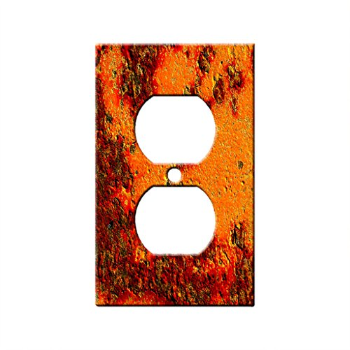 Decorative Wall Textures - Textures Red Stone - AC Outlet Decor Wall Plate Cover Metal