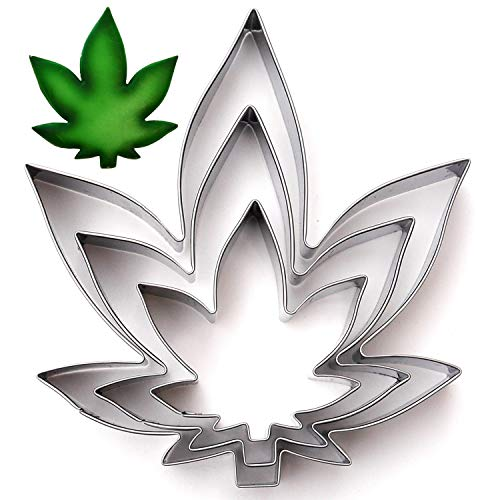 Marijuana Zen Leaf Cookie Cutter Set, 3 Piece, Stainless Steel (Marijuana Leaf Cake Pan)