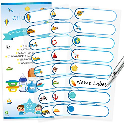 Baby Bottle Labels, Waterproof Durable Write-On Kids Name Labels for Daycare, Pack of 96 (Boys - Action Icons)