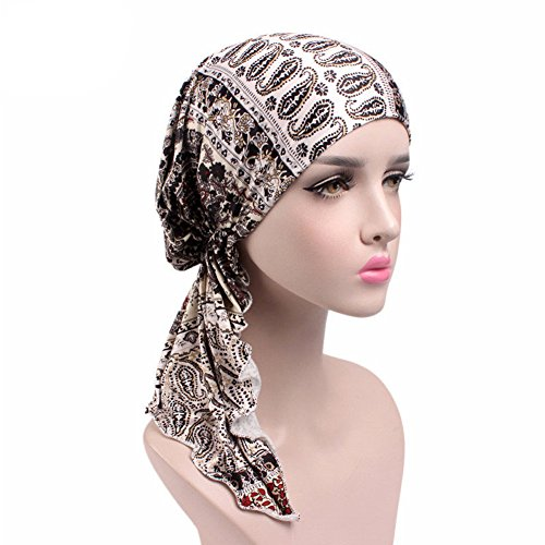 Womens Head Scarf Pre Tied Chemo Hat Beanie Sleep Turban Headwear for Cancer