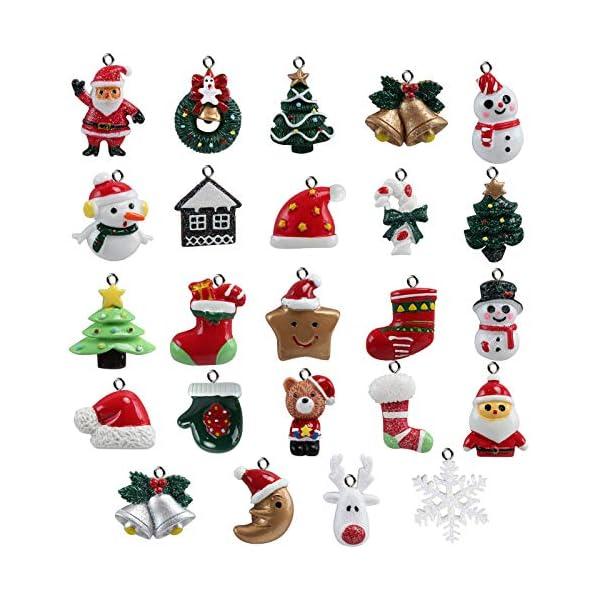 Naler 24pcs Christmas Fascino del Pendente, Fascino della Resina del Pupazzo di Neve dell'alce del Babbo Natale per l'ornamento della Decorazione di Natale DIY Craft 1 spesavip