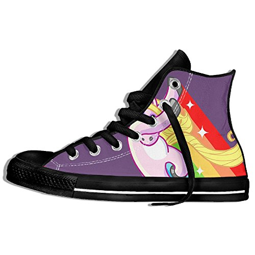 Classic High Top Sneakers Canvas Shoes Anti-Skid Rainbow Unicorn Dance Casual Walking For Men Women Black w5e3obrw