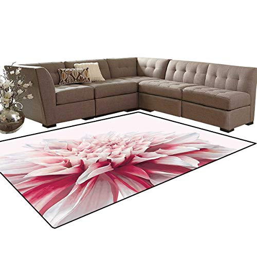 - Dahlia Bath Mats for Floors Close Up Dahlia Blossom with Red and White Petals One Single Large Flower Floor Mat Pattern 5'x7' Ruby Ivory White