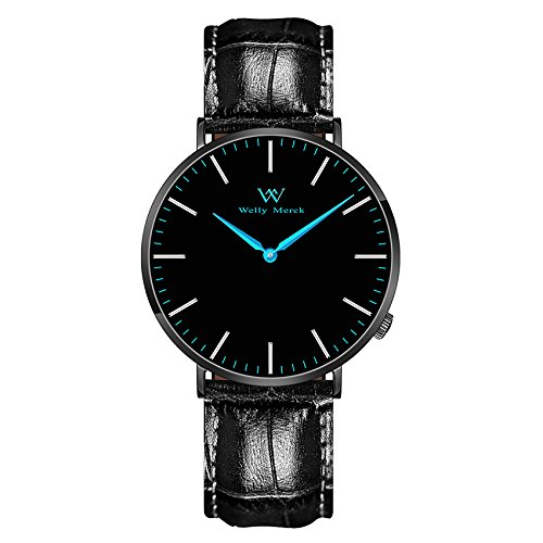 Welly Merck Men's Luxury Watch Minimalistic Design Quartz Movement Sapphire Crystal Analog Wrist Watch with 20mm Italy Genuine Leather Interchangeable Black Strap 5ATM Water Resistant