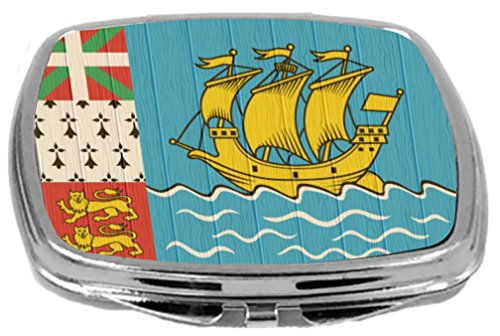 Rikki Knight Compact Mirror on Distressed Wood Design, Saint Pierre and Miquelon Flag, 3 Ounce by Rikki Knight