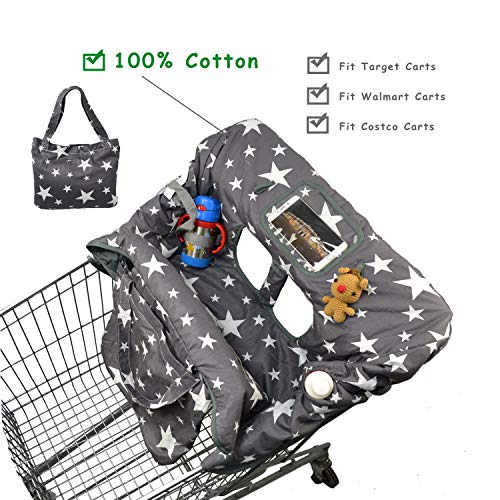 Cotton Shopping Cart Cover for Baby, Toddler High Chair Cover with Cell Phone Carrier-Summer Grocery Cart Cushion for Boy or Girl Large Size Star Print