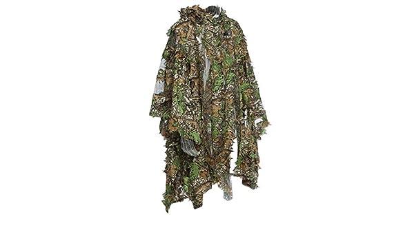 8b55695ce0f Amazon.com   1 Piece Hunting Ghillie Suit Set 3D Camo Bionic Leaf  Camouflage Jungle Woodland Suit   Sports   Outdoors