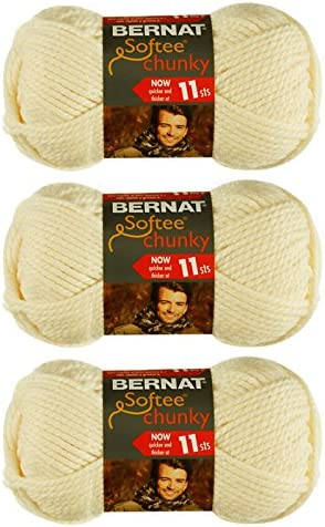 3 Piece Bernat Softee Chunky Yarn 3 Ball Pack Dark Mauve