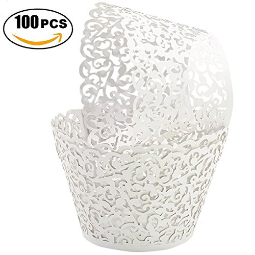 Golf Artistic Bake Cake Cups 100 Filigree Little Vine Lace Laser Cut Cupcake Wrapper Liner Baking Cup Muffin CaseTrays for Wedding Birthday Party Decoration-US stock and free delivery (White)