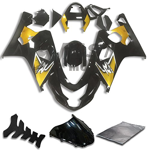 9FastMoto Fairings for suzuki 2004 2005 GSX-R600 GSX-R750 K4 04 05 GSXR 600 750 K4 Motorcycle Fairing Kit ABS Injection Set Sportbike Cowls Panels (Black & Yellow) S0706