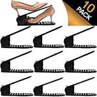 Shoe Slots Organizer, BASHUO Home Double Layer Shoe Slots Organizer-Space Saver Rack Holder for Shoes Adjustable Space Saver Storage Rack Holder(10-Pack Black)