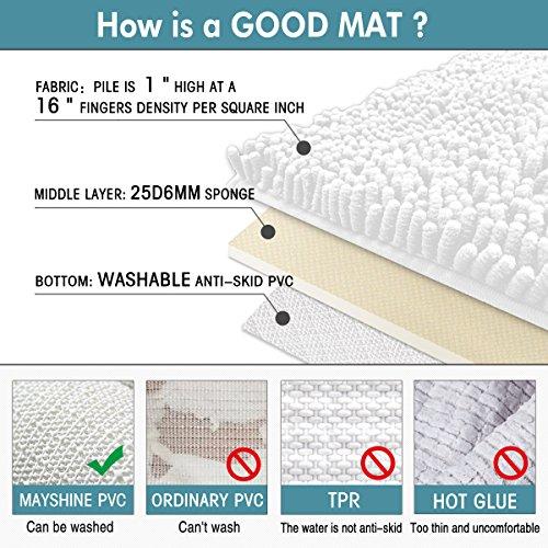 Mayshine 24x39 inch Non-slip Bathroom Rug Shag Shower Mat Machine-washable Bath mats with Water Absorbent Soft Microfibers of - White